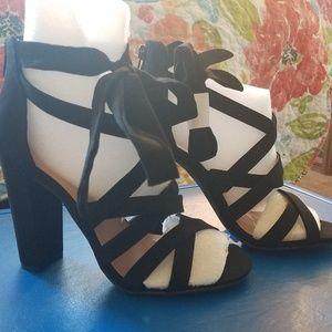 Torrid Black Strappy Lace Up Heels Sandals
